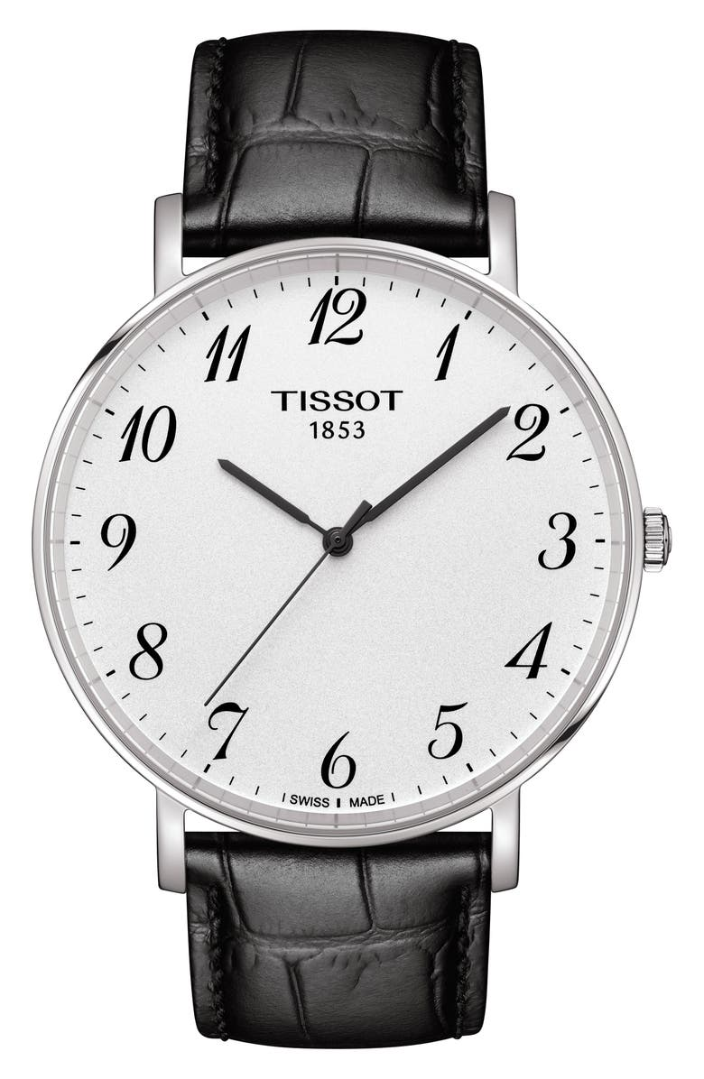 TISSOT Everytime Leather Strap Watch, 42mm, Main, color, BLACK/ WHITE/ SILVER