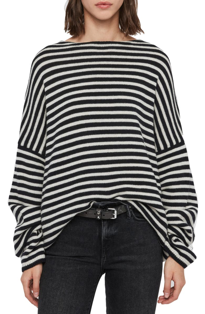 ALLSAINTS Marcel Stripe Oversize Sweater, Main, color, INK/ ECRU WHITE
