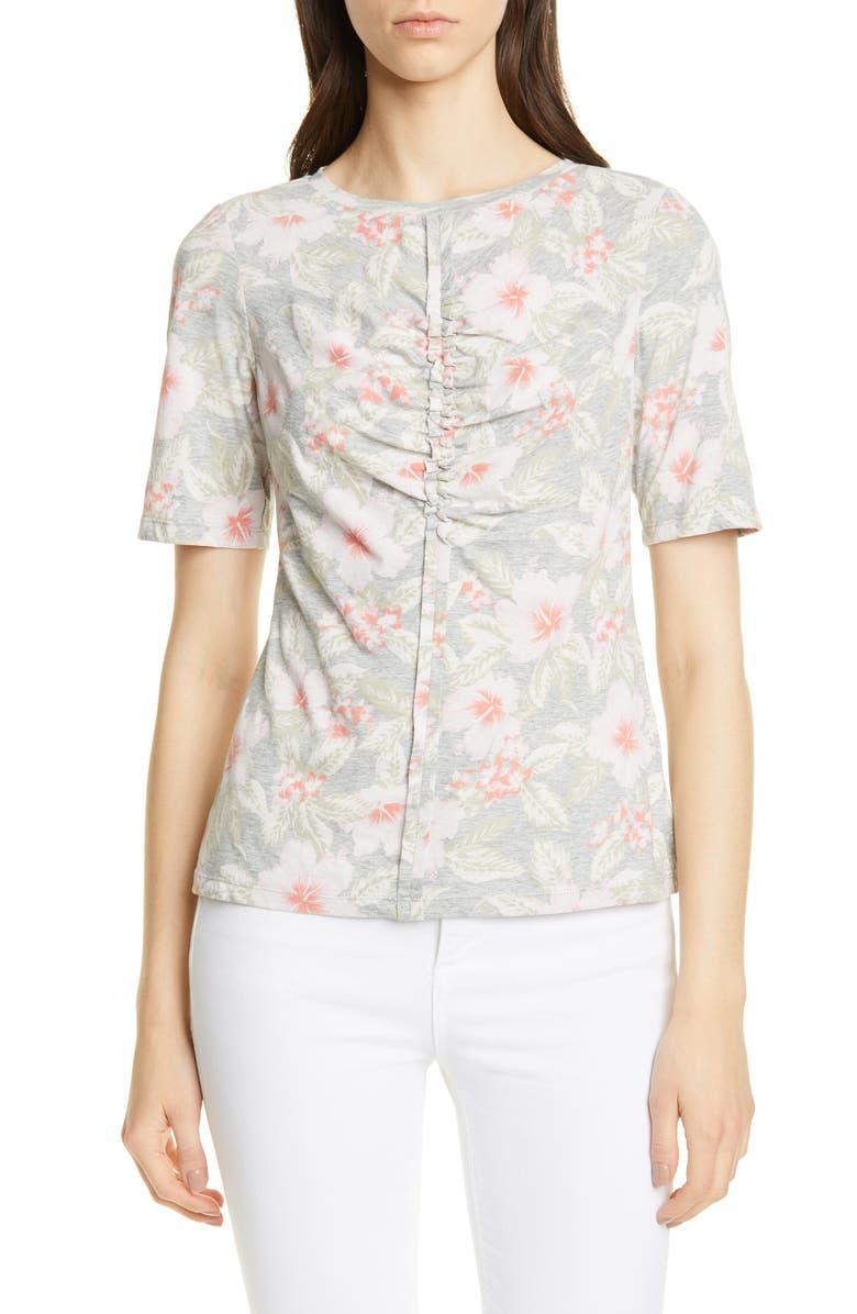 REBECCA TAYLOR Kamea Floral Cotton Jersey Top, Main, color, GREY MELANGE