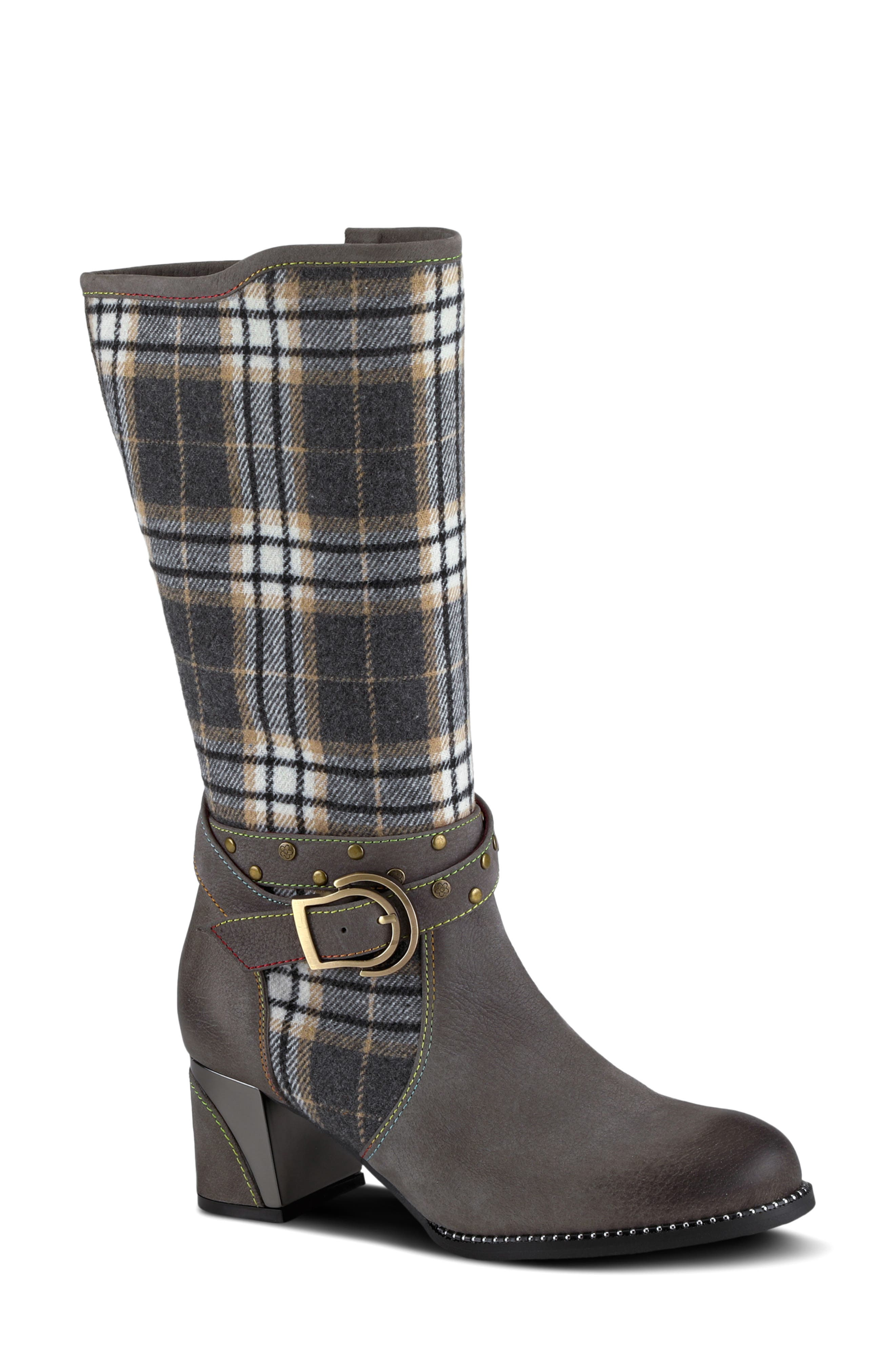 A studded wraparound belt trims the plaid shaft of this warm boot lined with plush faux fur. Style Name:L\\\'Artiste Hunter Faux Fur Lined Boot (Women). Style Number: 6117400. Available in stores.