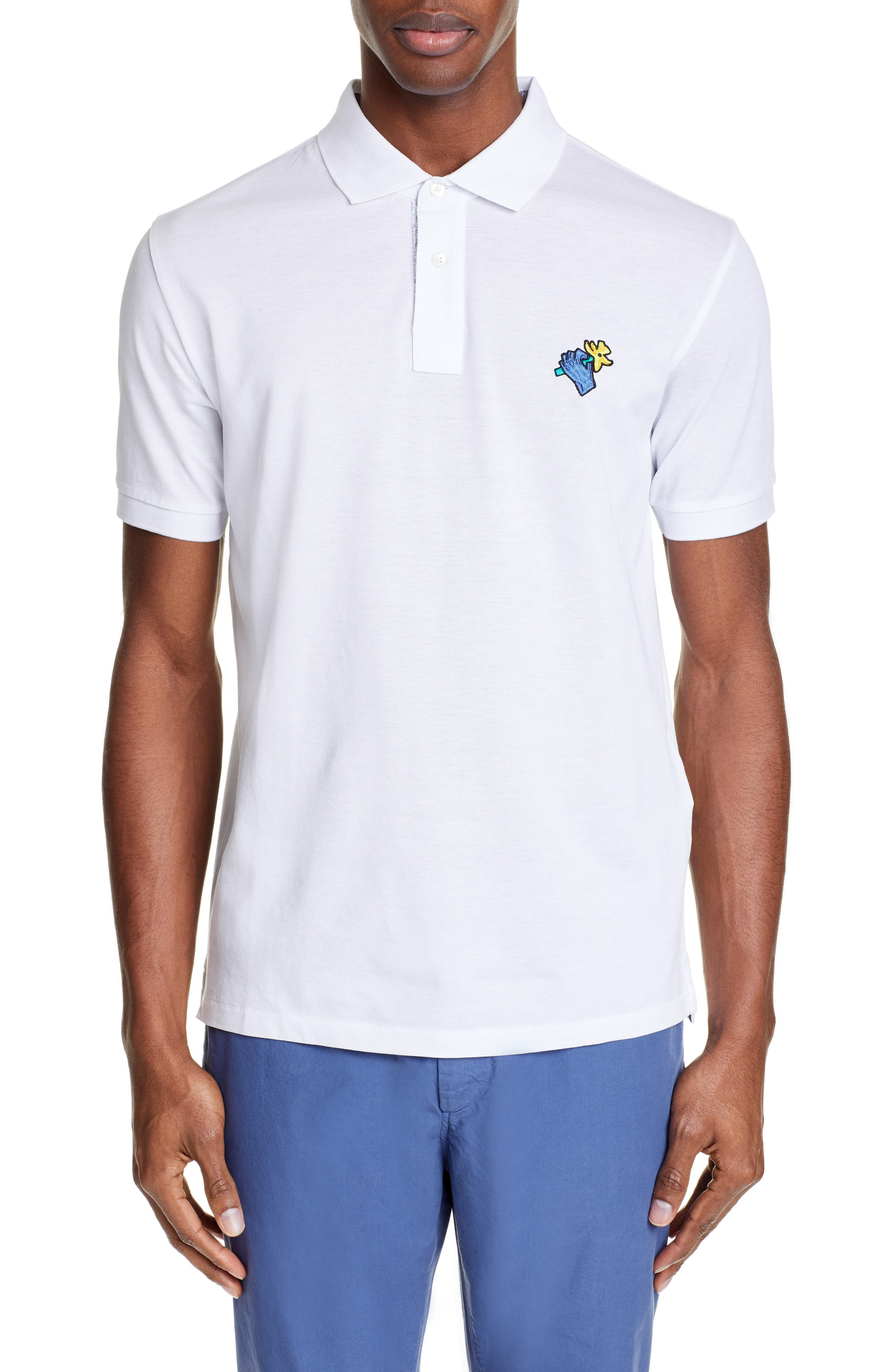 Embroidered Hand Piqué Polo, Main, color, WHITE
