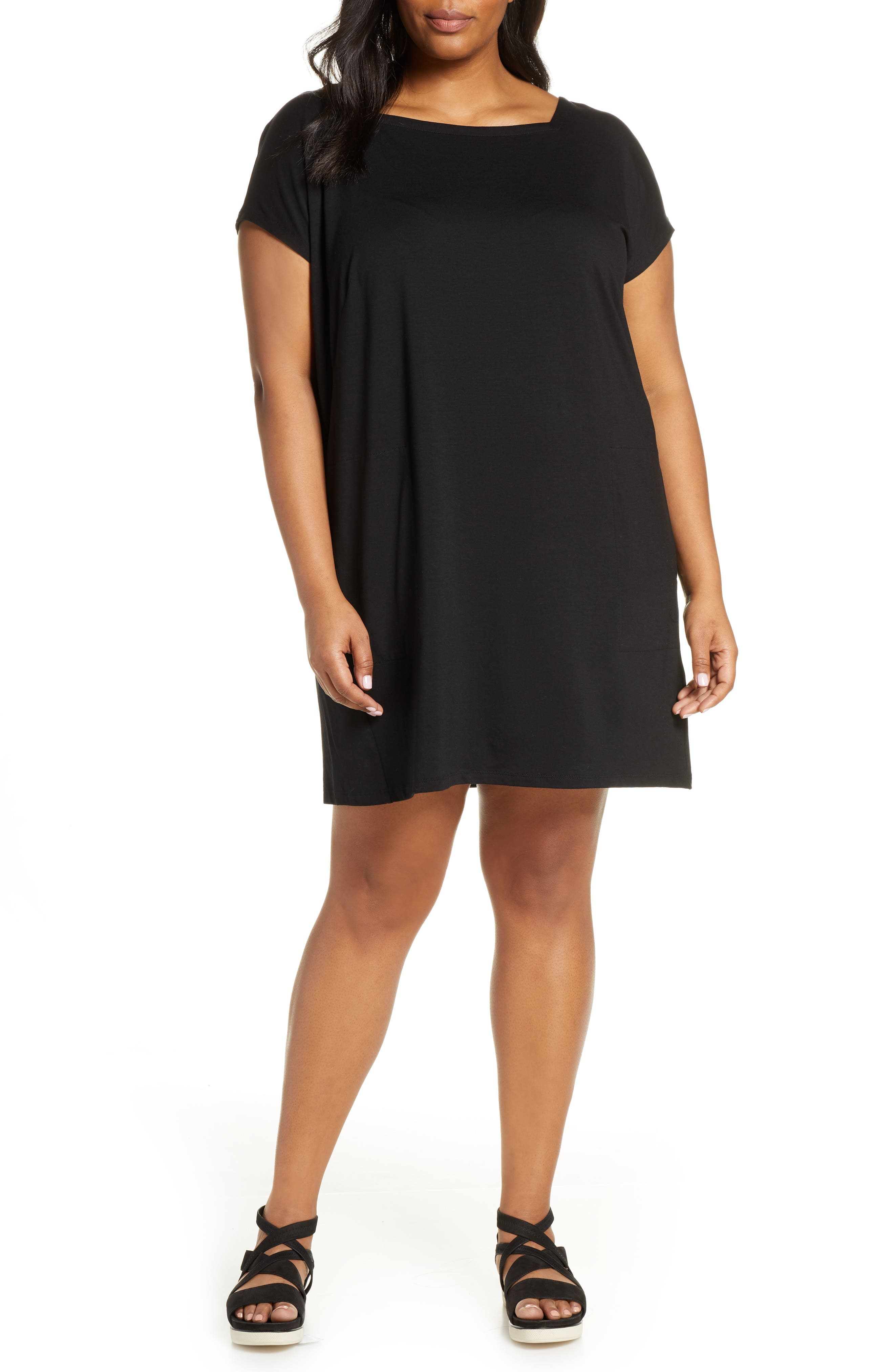 Plus Size Eileen Fisher Square Neck Tencel Lyocell Blend Dress, Black