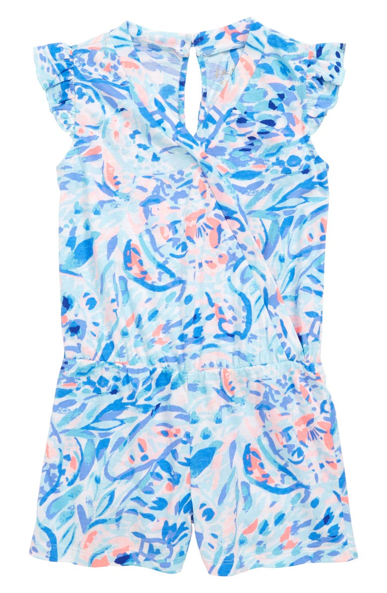 LILLY PULITZER<SUP>®</SUP> Romee Print Romper, Main, color, BREAKWATER TINT PARTY WAVE