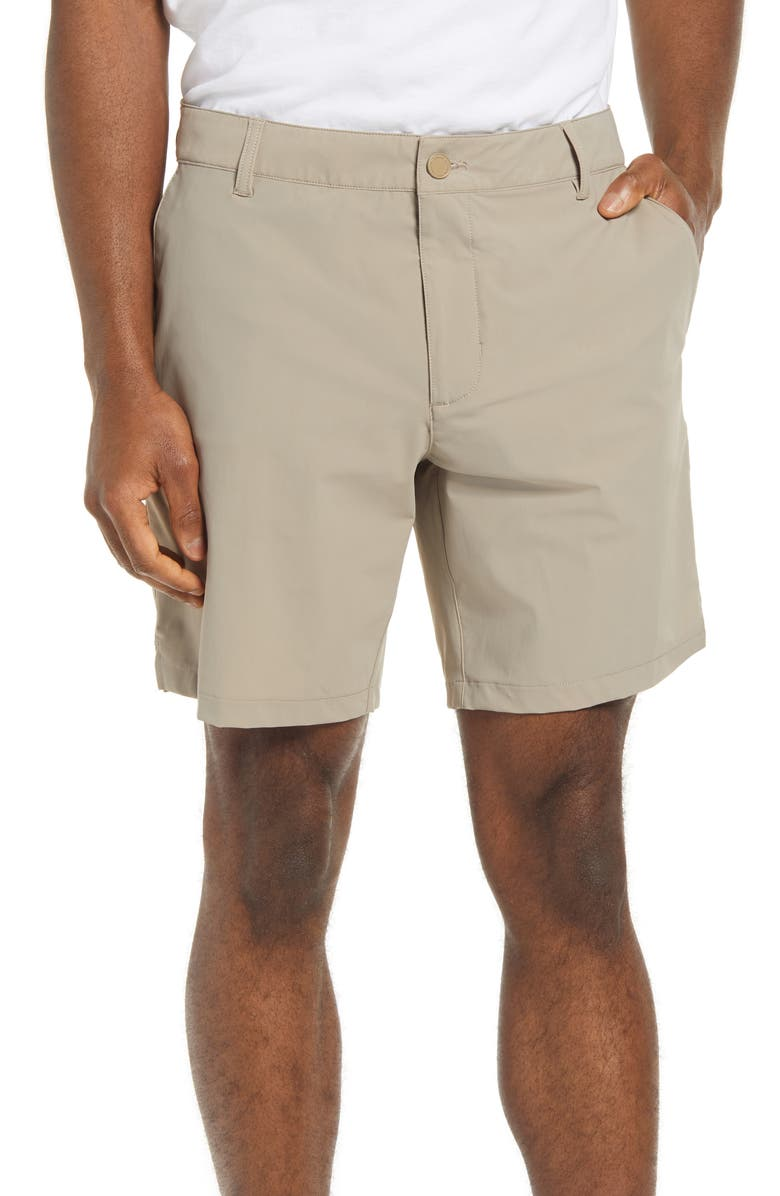 RHONE Flat Front Resort Shorts, Main, color, SANDALO