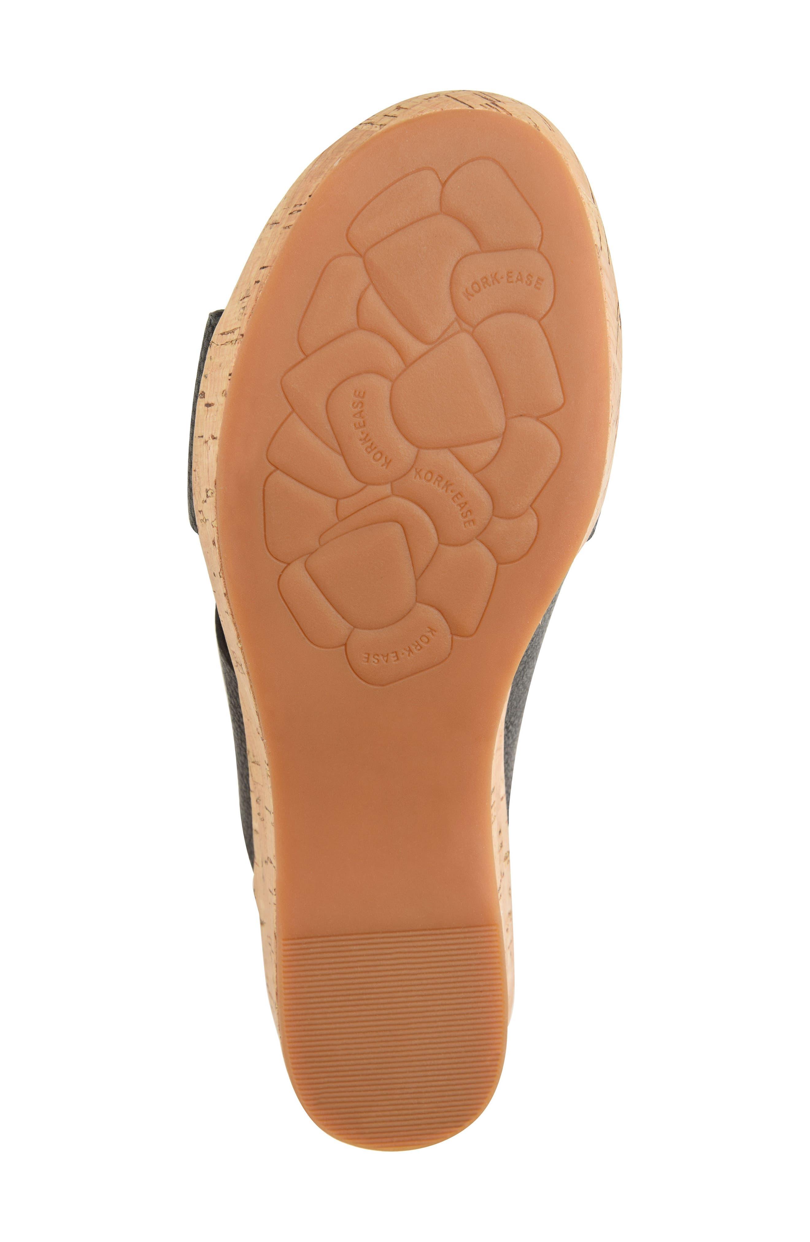 ,                             Baja Wedge Slide Sandal,                             Alternate thumbnail 6, color,                             BLACK LEATHER