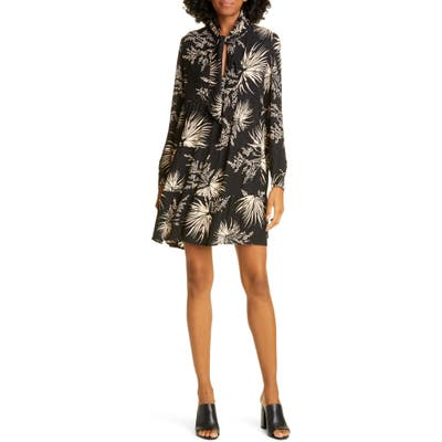 Ba & sh Eugenie Floral Tie Neck Long Sleeve Babydoll Dress, Black