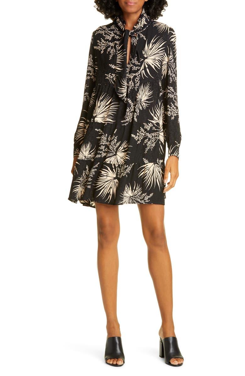 BA&SH Eugenie Floral Tie Neck Long Sleeve Babydoll Dress, Main, color, NOIR