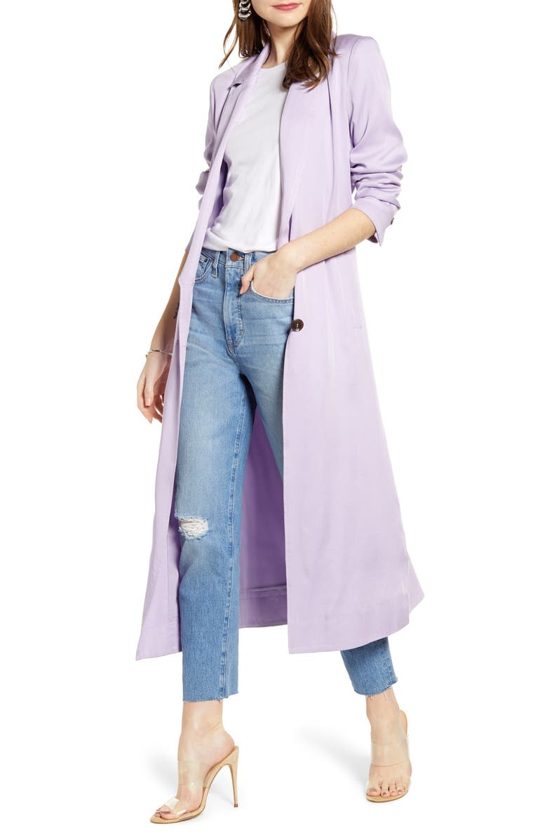 SOMETHING NAVY Elongated Collar Trench Coat, Main, color, 500