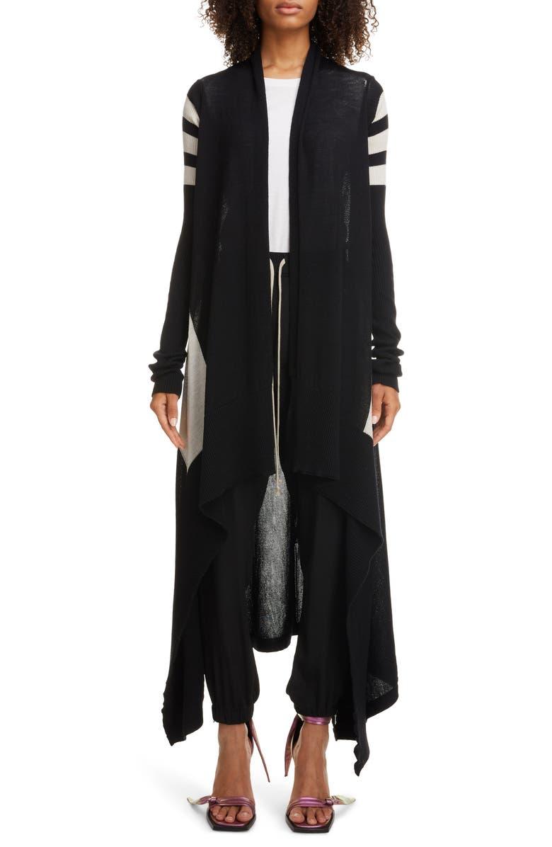 RICK OWENS Stripe Long Wool Cardigan, Main, color, BLACK/ DUST/ PEARL