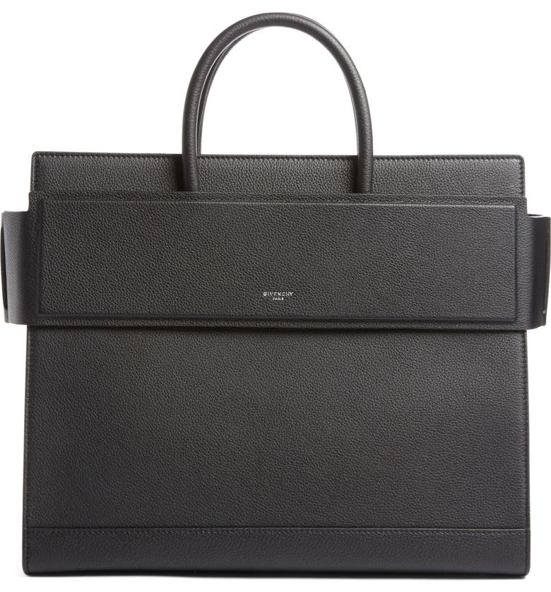 GIVENCHY Medium Horizon Grained Calfskin Leather Tote, Main, color, 001