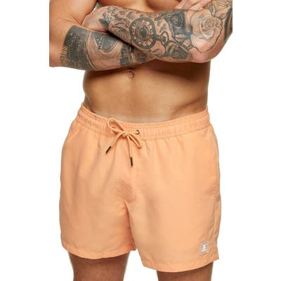 Topman Hester Solid Swim Trunks, Orange