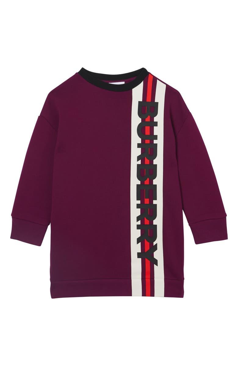 BURBERRY Letisha Sweatshirt Dress, Main, color, BURGUNDY