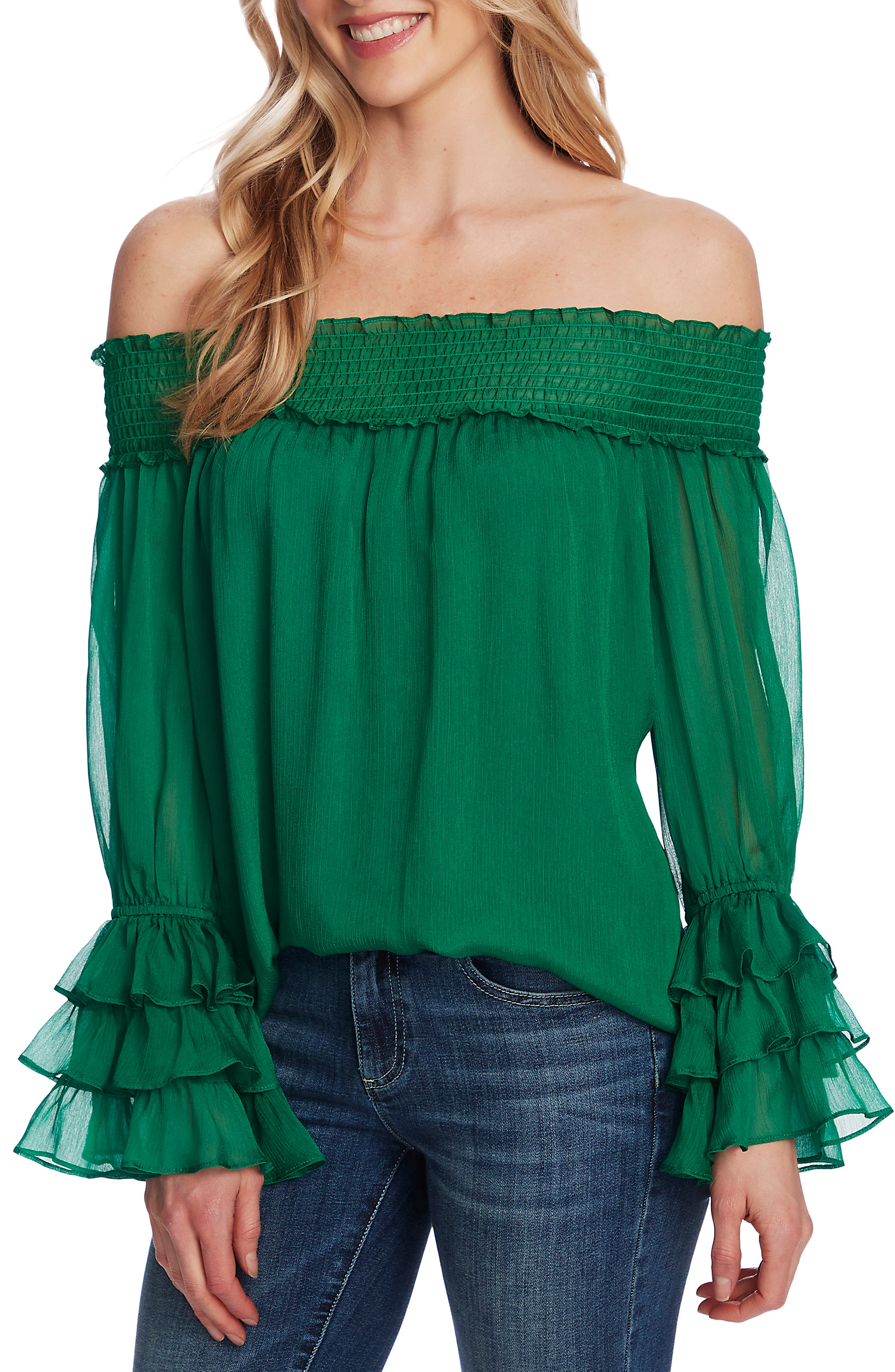 Off The Shoulder Ruffle Cuff Blouse
