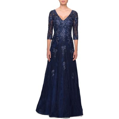 La Femme Embroidered Lace Gown, Blue