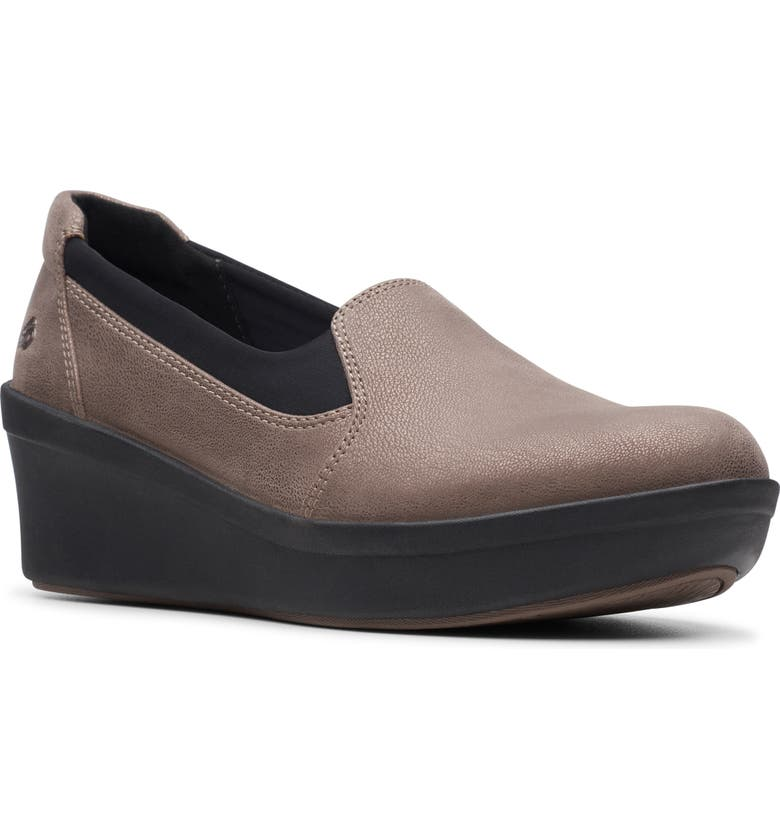 CLARKS<SUP>®</SUP> Step Rose Moon Wedge Loafer, Main, color, PEWTER FABRIC