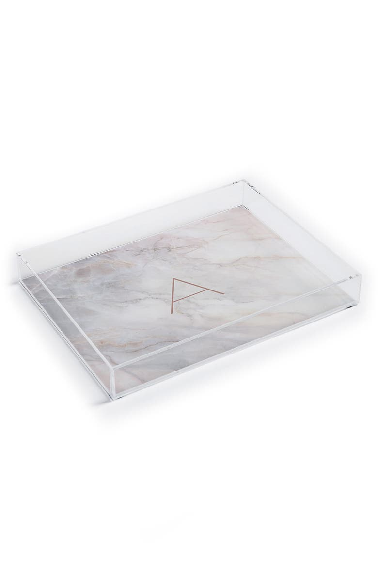 DENY DESIGNS Marbled Monogram Tray, Main, color, A