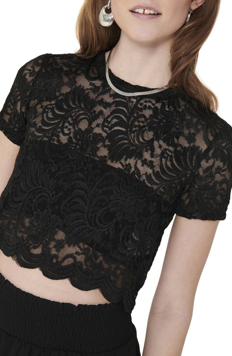 ONLY Lace Crop Top, Main, color, 001