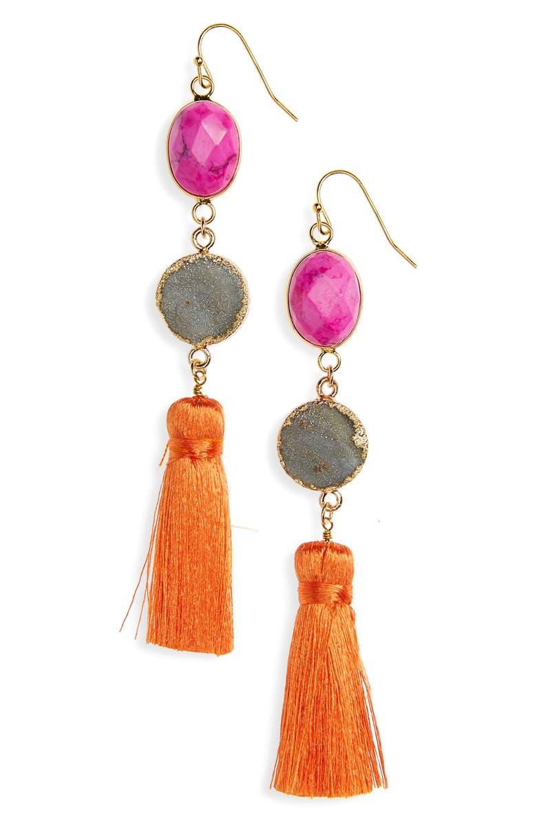 PANACEA Drusy Tassel Earrings, Main, color, PINK/ GREY/ MULTI