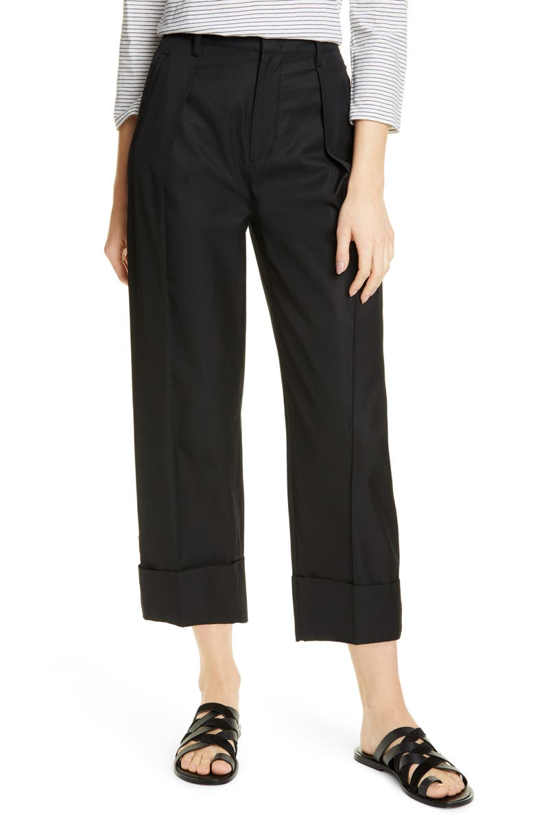 VINCE Cuffed Wide Leg Pants, Main, color, BLACK