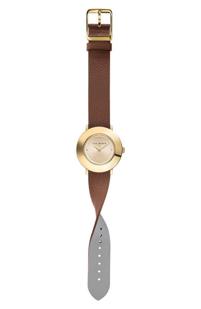 TED BAKER LONDON Katyaa Reversible Leather Strap Watch, 34mm, Main, color, TAN/ GREY/ GOLD