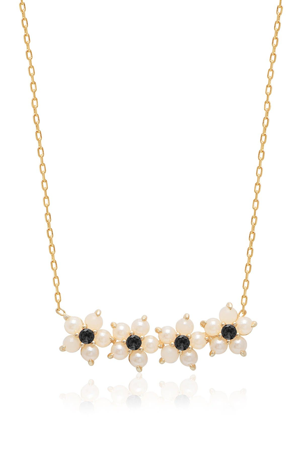 Image of Gabi Rielle Mother of Pearl & Onyx Flower Pendant Necklace