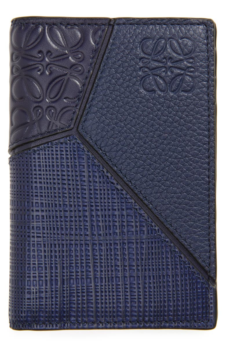 LOEWE Puzzle Bifold Leather Wallet, Main, color, NAVY BLUE