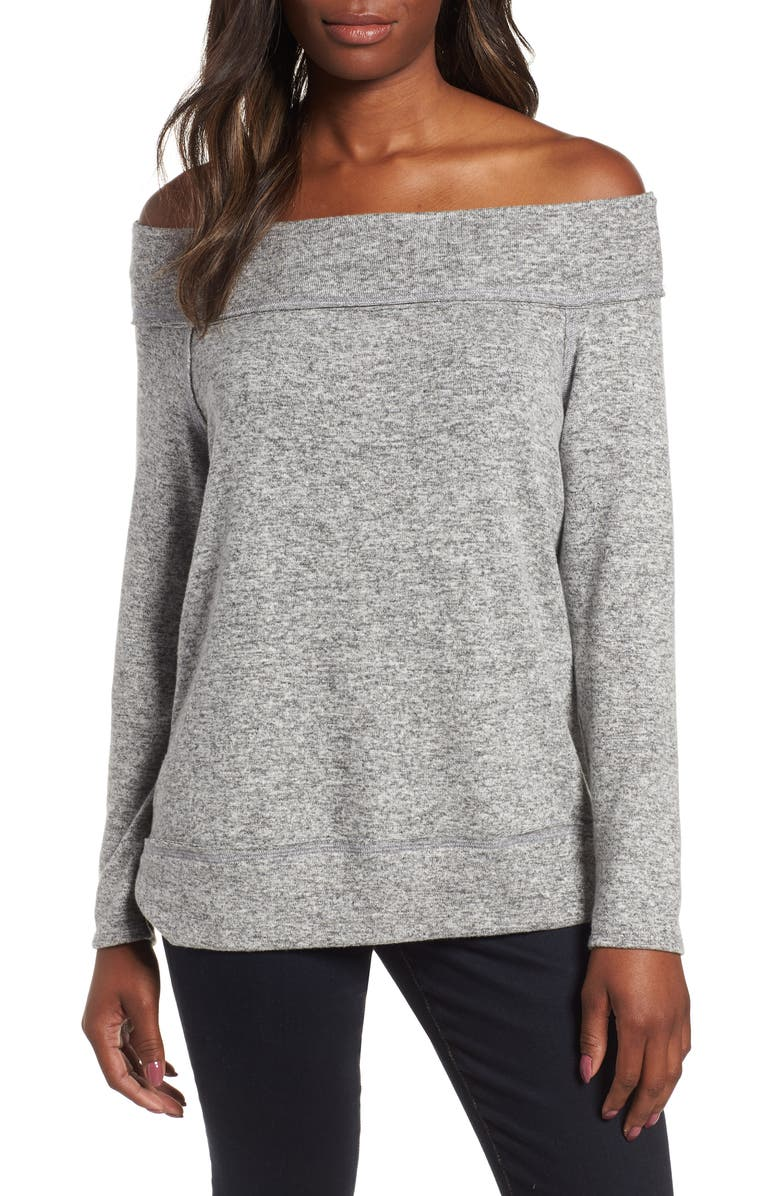 GIBSON x Living in Yellow Mary Fleece Off the Shoulder Top, Main, color, HEATHER GREY