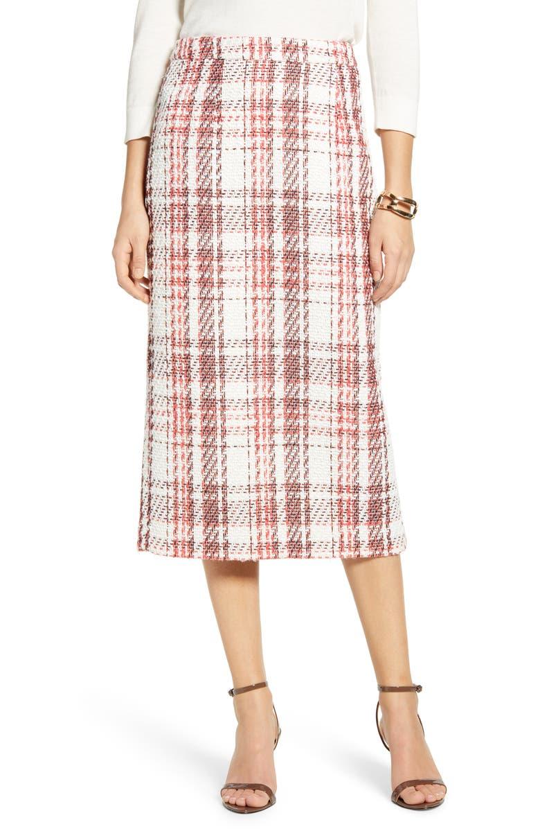 HALOGEN<SUP>®</SUP> Plaid Tweed Pencil Skirt, Main, color, IVORY- CORAL LETTA TWEED
