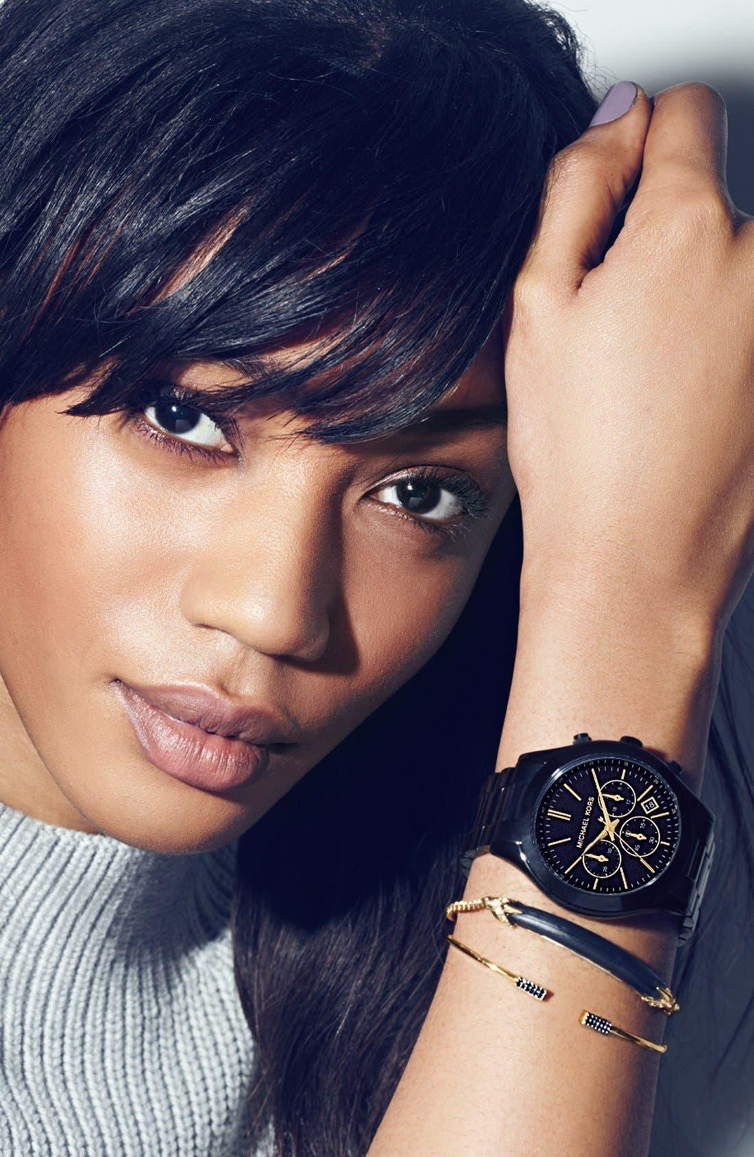 ,                             Michael Kors 'Slim Runway' Chronograph Bracelet Watch, 42mm,                             Alternate thumbnail 5, color,                             001