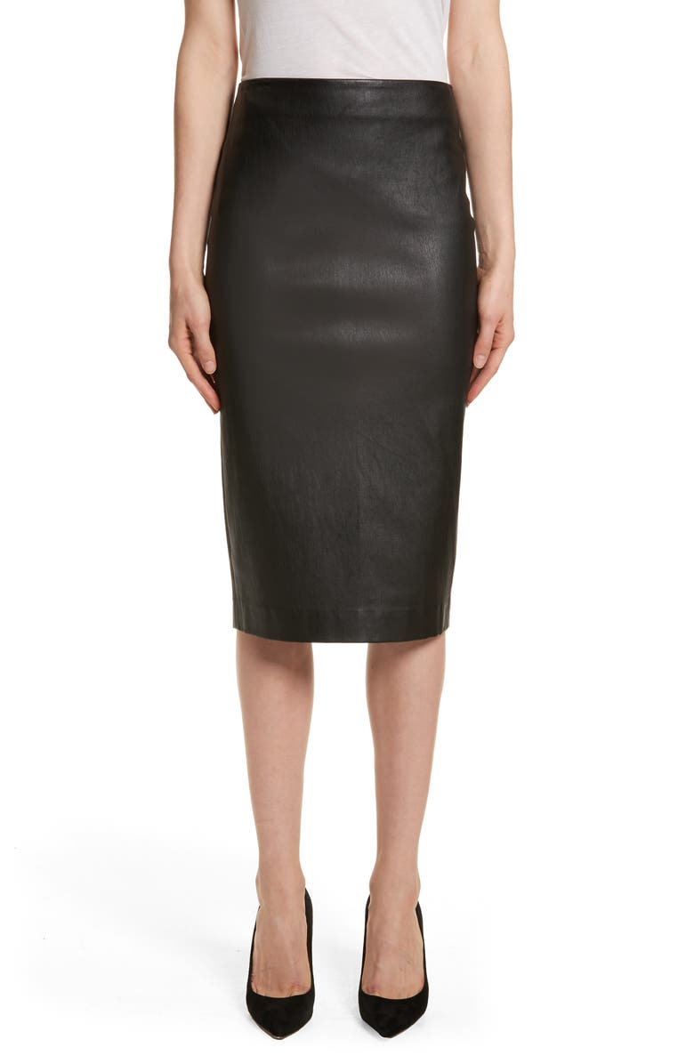 THEORY Leather Skinny Pencil Skirt, Main, color, BLACK