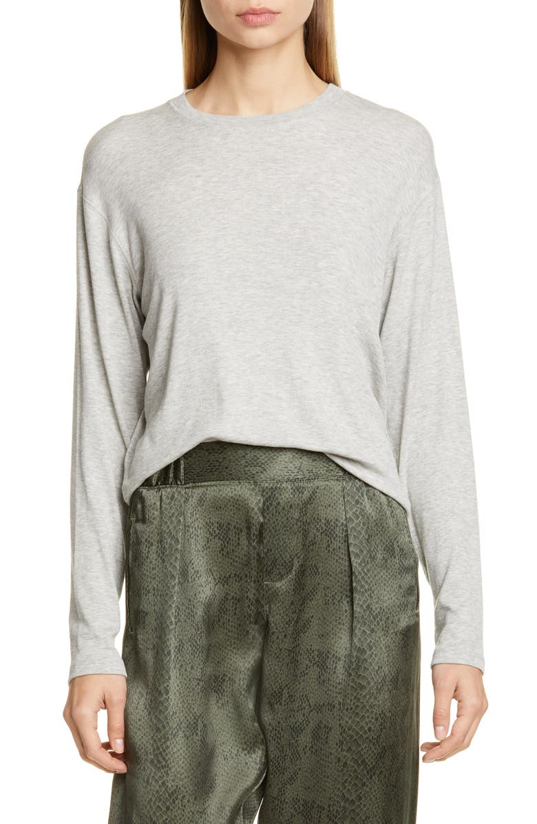 ATM ANTHONY THOMAS MELILLO Boy Stretch Modal Sweater, Main, color, HEATHER GREY