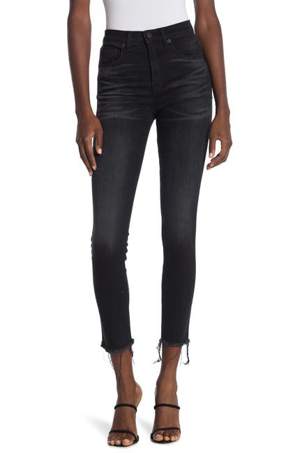 Image of NILI LOTAN High Waisted Raw Crop Hem Skinny Jeans