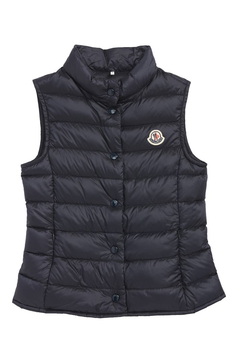 MONCLER Liane Water Resistant Quilted Down Vest, Main, color, NAVY