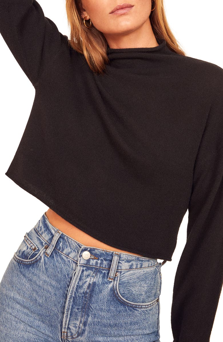 REFORMATION Cashmere & Wool Crop Roll Neck Sweater, Main, color, BLACK