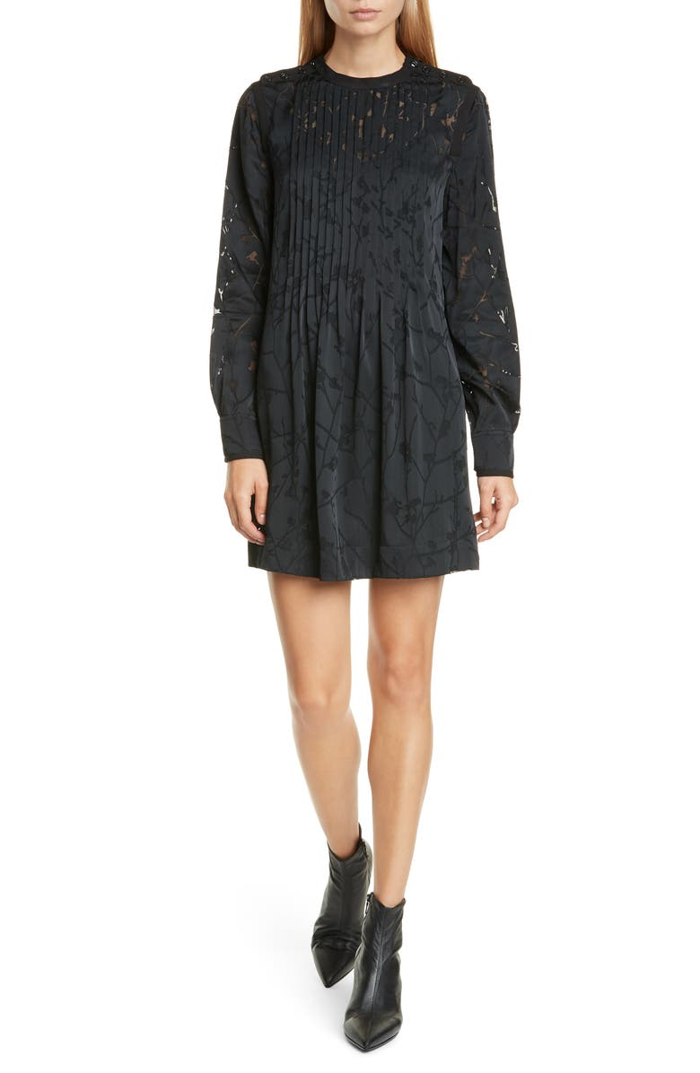 RAG & BONE Rubie Long Sleeve Minidress, Main, color, BLACK