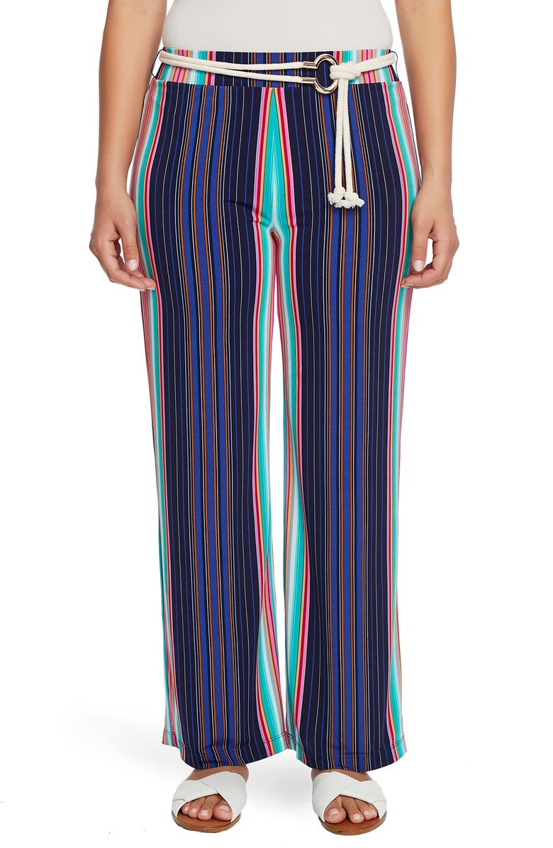 CHAUS Stripe High Waist Belted Pants, Main, color, EVENING NAVY
