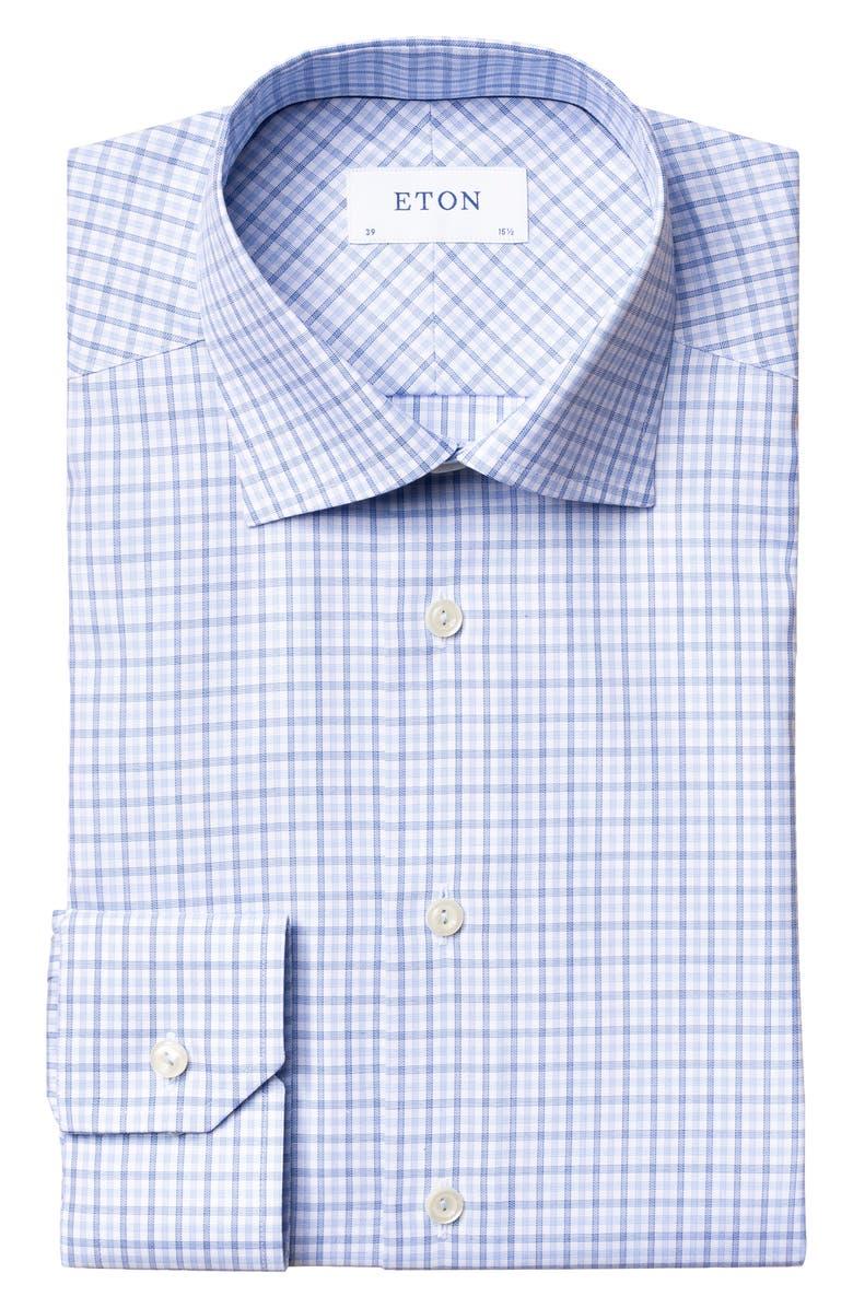 ETON Slim Fit Plaid Dress Shirt, Main, color, BLUE