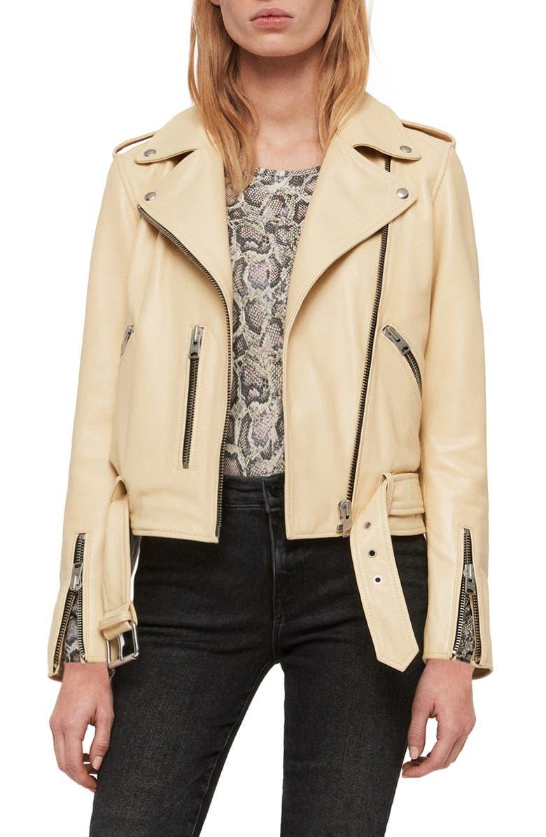 ALLSAINTS Balfern Leather Biker Jacket, Main, color, PALE YELLOW