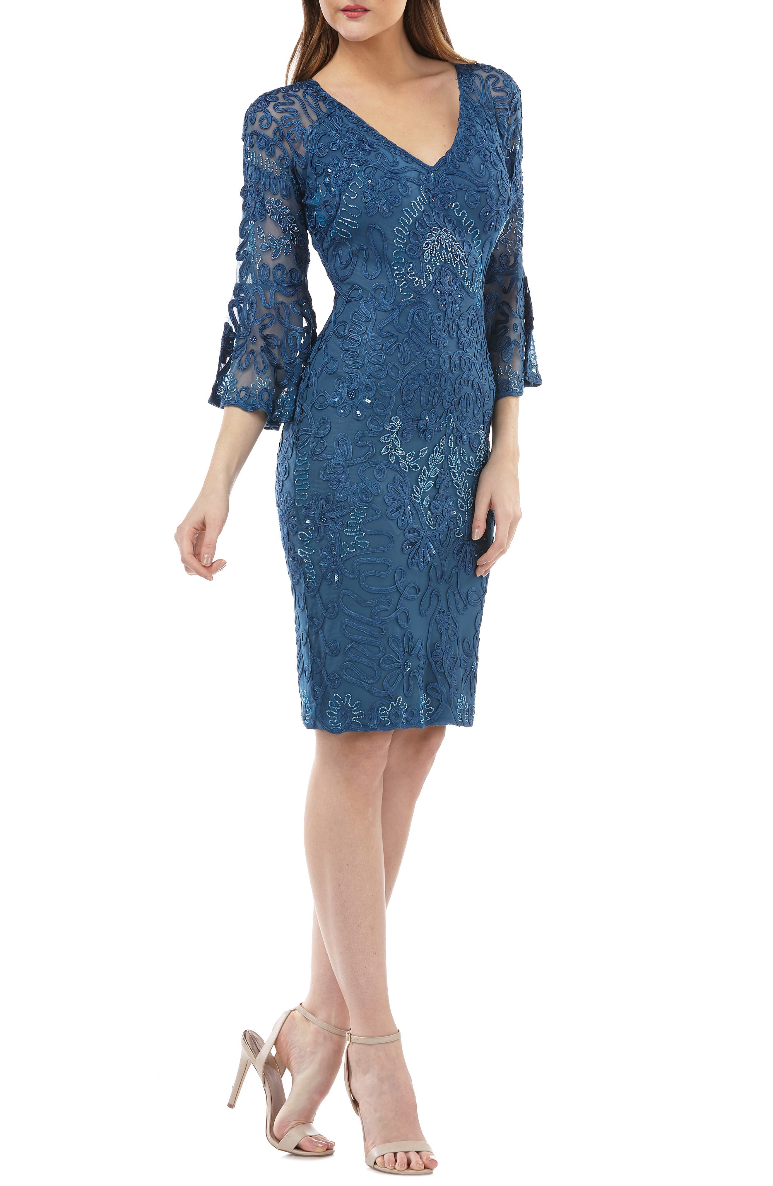 Js Collections Bell Sleeve Soutache Cocktail Dress, Blue