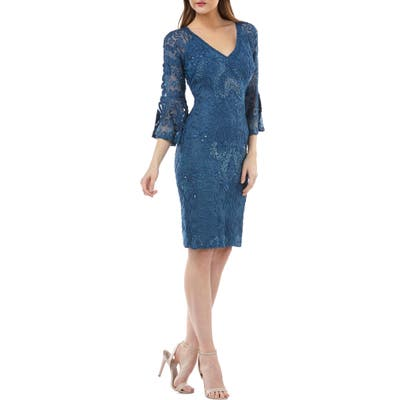 Js Collections Bell Sleeve Soutache Cocktail Dress, Blue