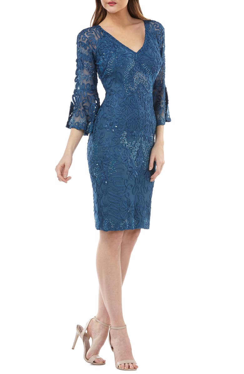 JS COLLECTIONS Bell Sleeve Soutache Cocktail Dress, Main, color, MINERAL BLUE