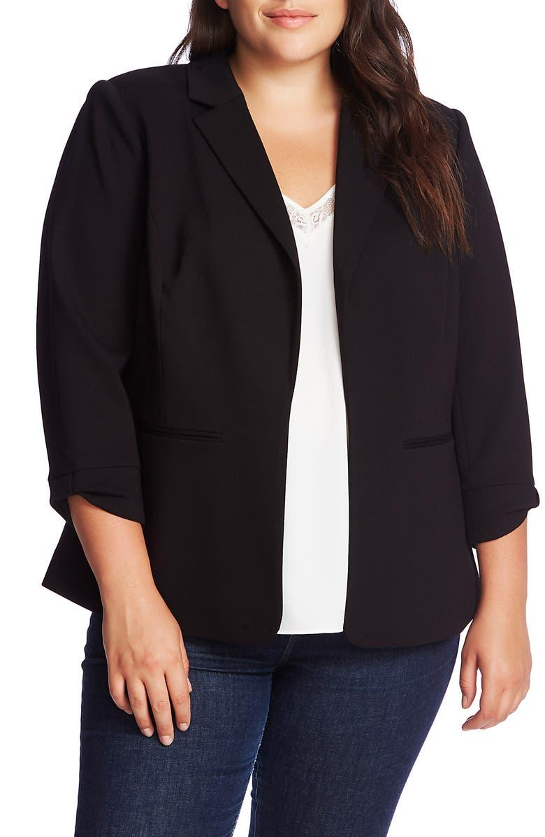 CECE Knit Blazer, Main, color, RICH BLACK