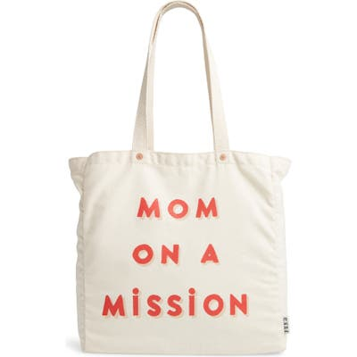 Feed Mom On A Mission Canvas Tote - Ivory