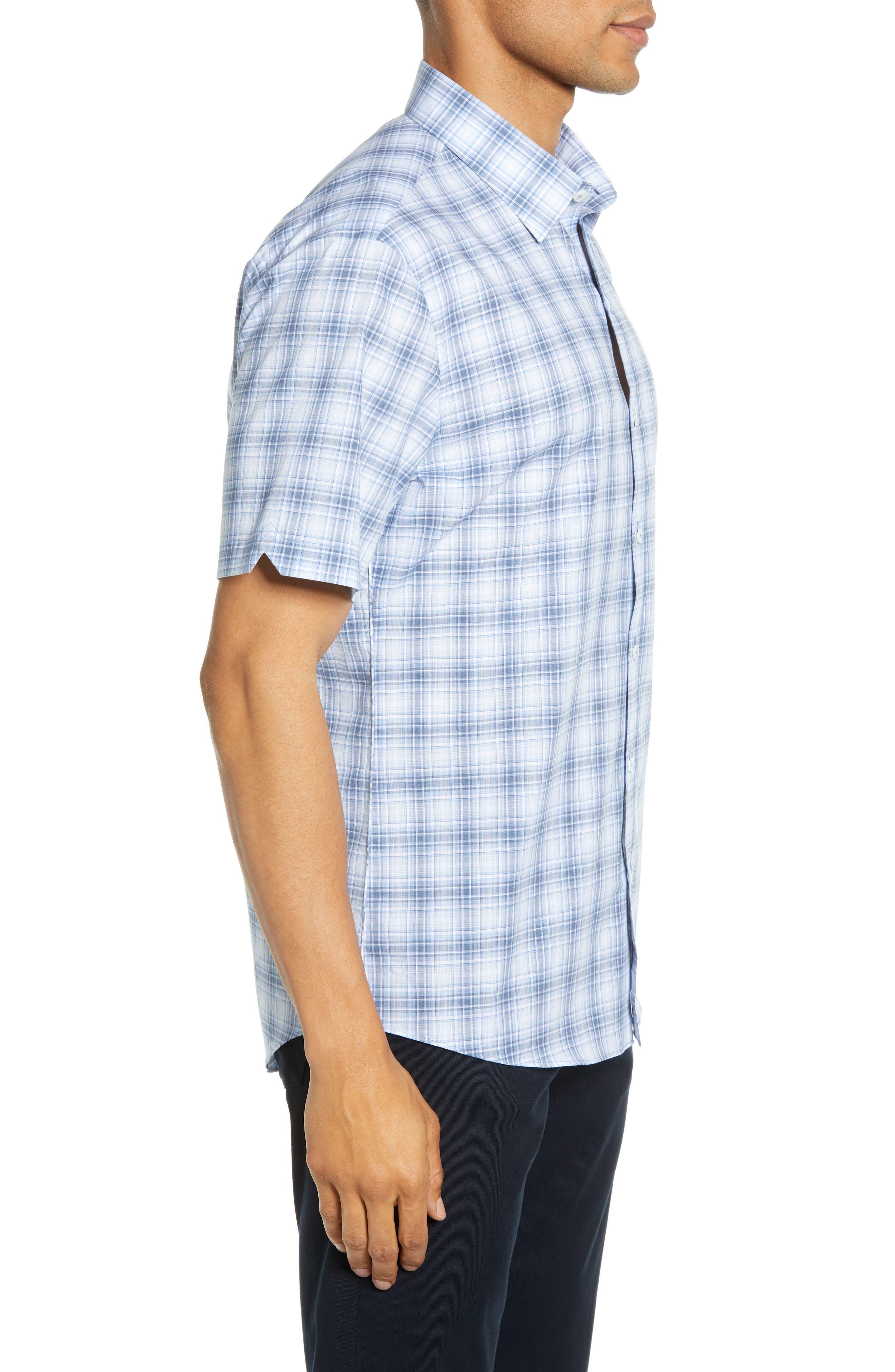 ,                             Bianco Regular Fit Plaid Sport Shirt,                             Alternate thumbnail 4, color,                             LIGHT BLUE