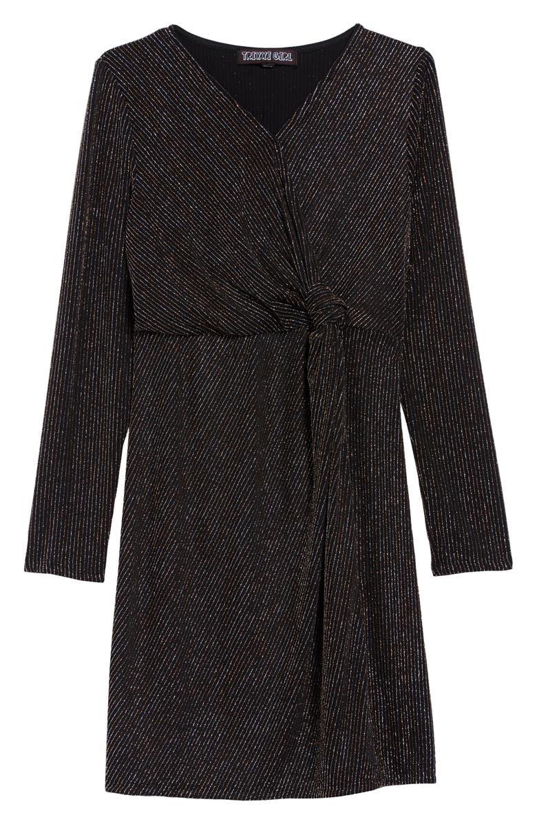 TRIXXI Metallic Stripe Knot Front Long Sleeve Dress, Main, color, 007