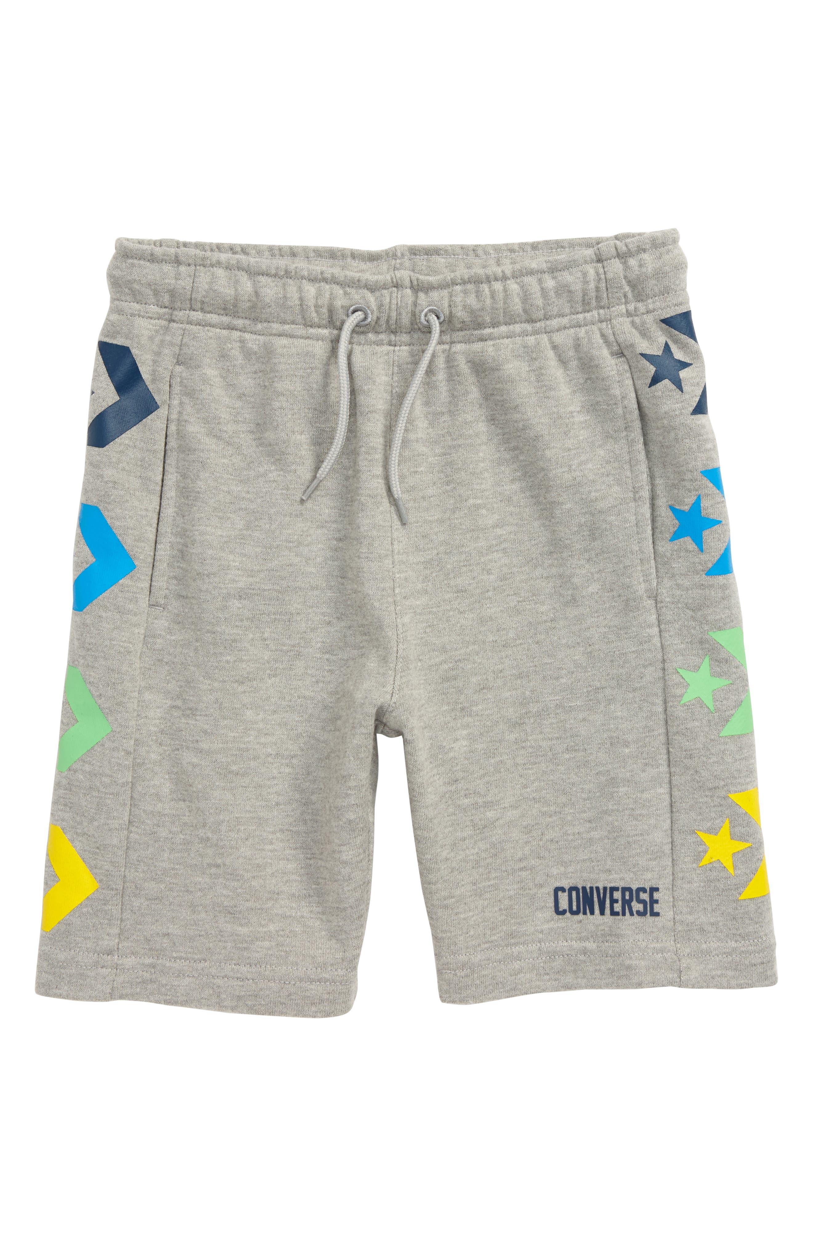 Boys Converse Star Chevron Print Knit Athletic Shorts Size S (810y)  Grey