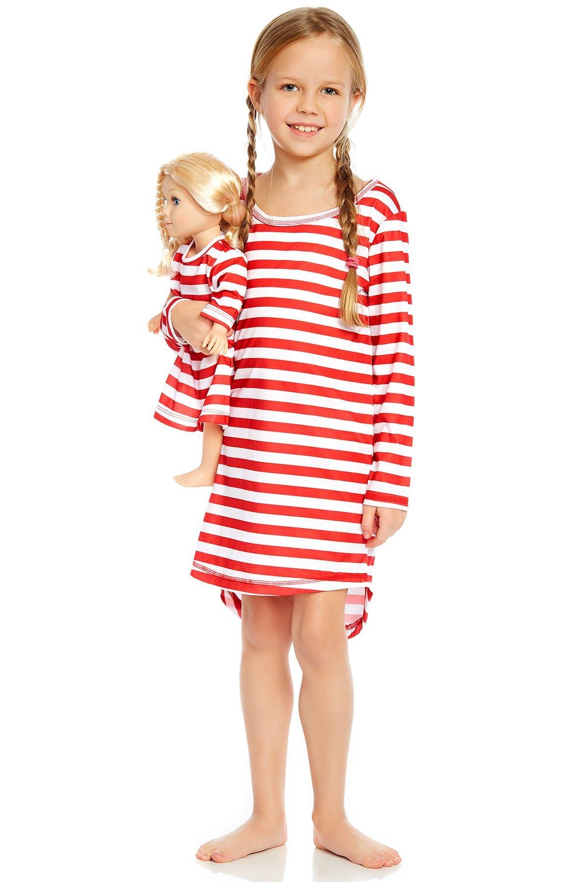 Image of Leveret Red & White Matching Doll Pajama Set