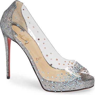 Christian Louboutin Very Strass Embellished Peep Toe Pump, Metallic (Nordstrom Exclusive)