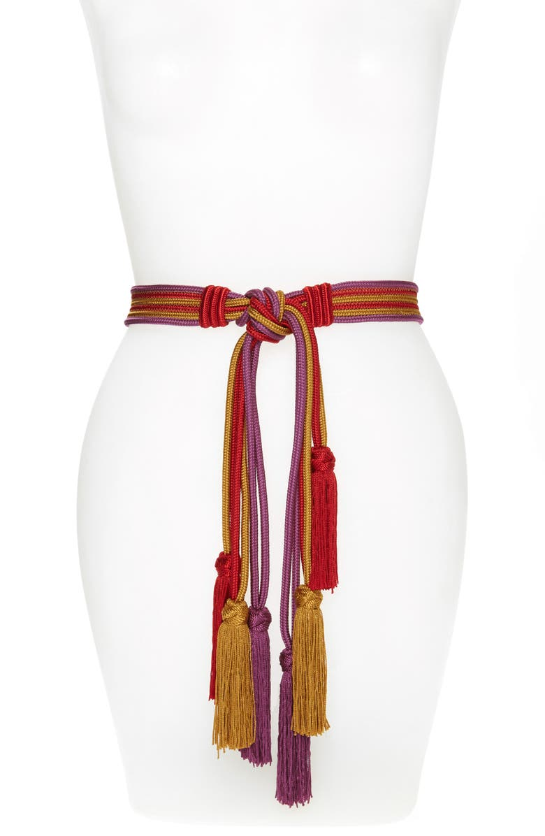ETRO Multicolor Cord Belt, Main, color, RED/ PURPLE/ YELLOW