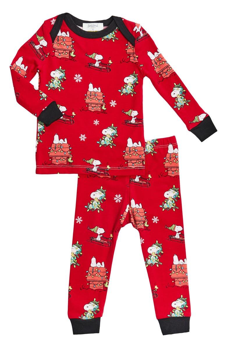 BEDHEAD PAJAMAS Peanuts Snoopy Boo Boo Fitted Two-Piece Pajamas, Main, color, MERRY CHRISTMAS SNOO